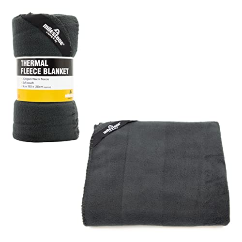 Milestone Camping    Outdoor Thermal Polar Fleece Blanket available in Charcoal - Size 150 X 120 cm from Milestone Camping