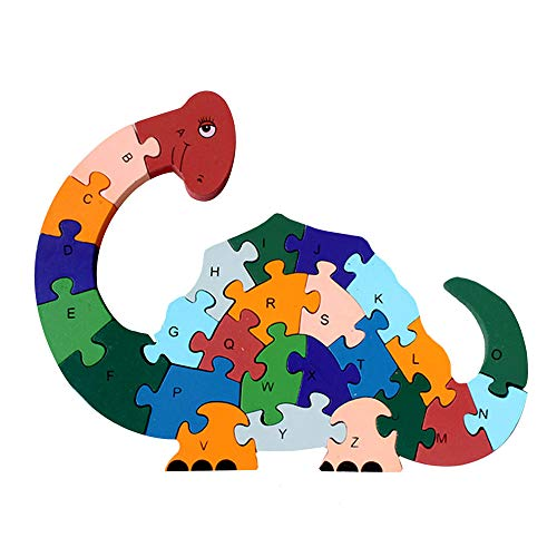 Millya Children Wooden Dinosaur Shape Jigsaw Puzzle Alphabetic ABC and Number 123 Cognitive Puzzles Block Preschool Early Leaning Toys from Millya