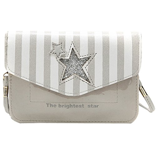 Millya Girls Cute Star Stripe Pattern Coin Purse Cross Body Bag Sparkling Shoulder Bag(Grey) from Millya