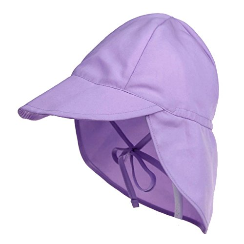 Millya Infant Baby Cotton Sun Hat with Drawstring Strap Flap Legionnaire Cap Summer Neck Protection Beach Hat for Girls Boys 3-18 Months from Millya