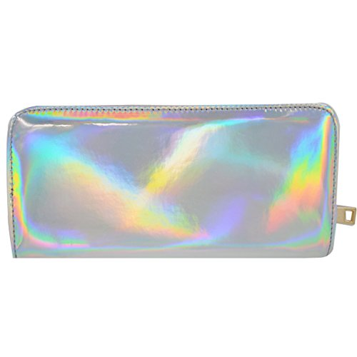 Millya Women Holographic Cluth Bag Zip Around Long Purse Card Holder Pouch Glitter PU Leather Handbag for Ladies from Millya