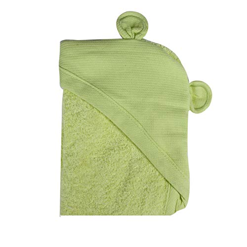 Minene Kids Baby Bath Hooded Apron Towel with Bear Ears, 70 x 70 cm, Green from Minene