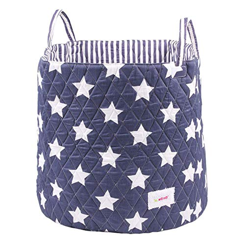 Minene Large Storage Basket with Blue Stars - star storage baskets, round storage baskets, large fabric storage basket - great for toy storage, kids storage and as a laundry hamper from Minene