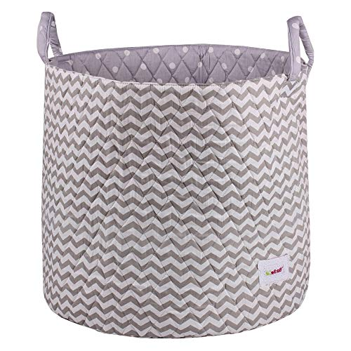 Minene Large Storage Basket with Grey Chevron - star storage baskets, round storage baskets, large fabric storage basket - great for toy storage, kids storage and as a laundry hamper from Minene