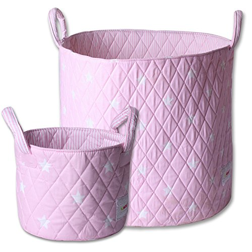 Minene Large & SMall Fabric Storage Basket Set, Organiser, Nursery, Kids,Star Storage Pink&White Stars from Minene