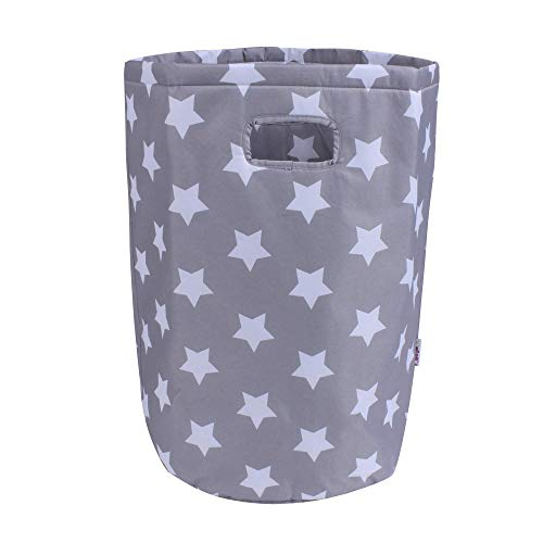 Minene Laundry Hamper Bag Basket Organiser (56 x 37 cm, Large, Round, Grey with White Stars) from Minene