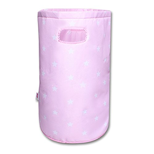 Minene Laundry Hamper Bag Basket Organiser (56 x 37 cm, Large, Round, Pink with White Stars) from Minene