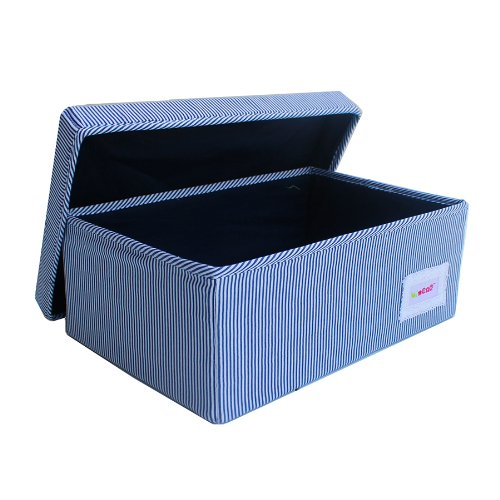 Minene Small Foldable Fabric Storage Box L32xW21xH12cmLinen Cosmetic Stationery Organiser with Stripes(Blue) from Minene