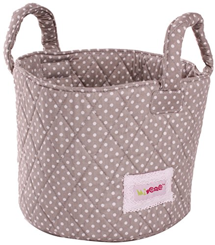 Minene Small Grey with White Dots Fabric Storage Basket Organiser with Handles 18x22cm from Minene