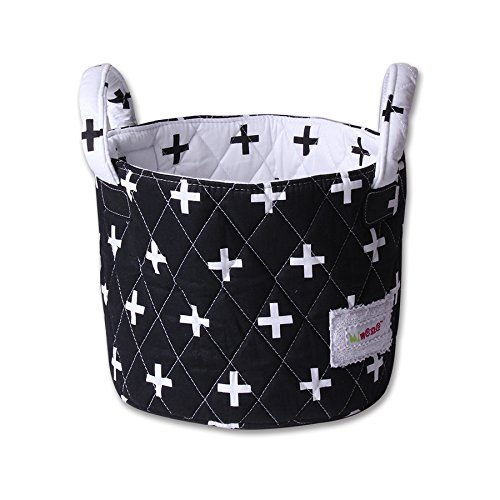 Minene Storage Basket (Small, Black with White Cross) from Minene