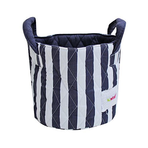 Minene Storage Basket with Flowers, 18 x 22 cm, Large, Thick Navy Stripes from Minene