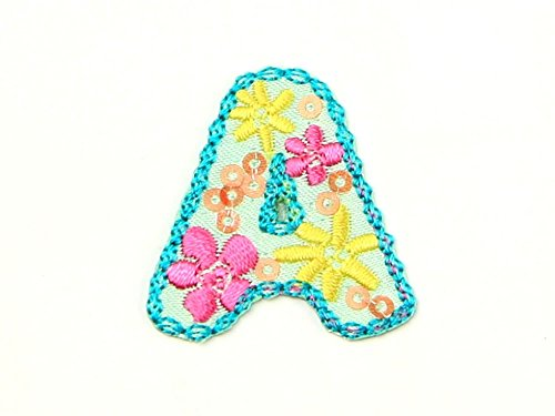 Alphabet Letter Embroidered Iron On Motif Applique Multicoloured Letter A - each from Minerva Crafts