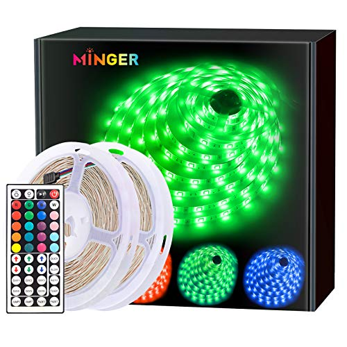 Minger LED Strip Lights Kit, Non-waterproof 2x5m(10m in Total) 5050 RGB 300led Strips Lighting with 12V 5A Power Supply + 44 Key IR Remote Ideal for Home,Kitchen Lighting,Christams Decorations from MINGER