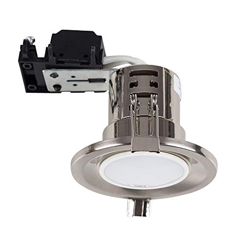 6 x MiniSun Fire Rated Brushed Chrome GU10 Recessed Ceiling Downlights/Spotlights - Supplied With 6 x 5W Warm White GU10 LED Bulbs from MiniSun