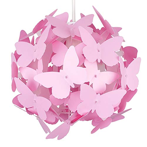 Beautiful Modern Bright Pink Coloured Butterflies Ceiling Girl's Chandelier Pendant Bedroom Light Lamp Shade from MiniSun