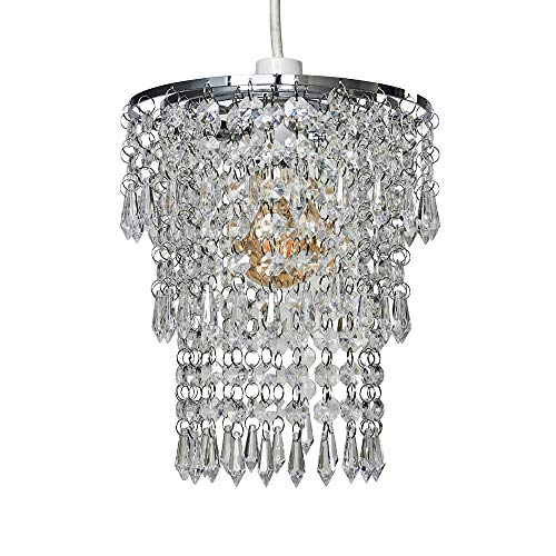 Beautiful Modern Chrome Chandelier Pendant Shade With Stunning Clear Acrylic Jewel Droplets from MiniSun