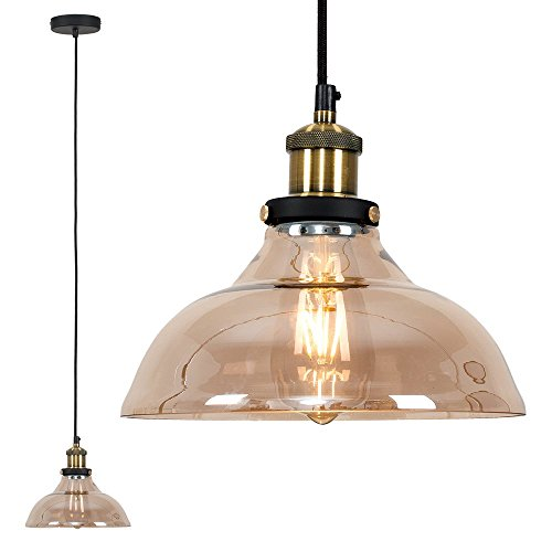 Industrial Steampunk Style Black and Gold Ceiling Light Pendant with an Amber Tinted Clear Glass Tapered Shade from MiniSun