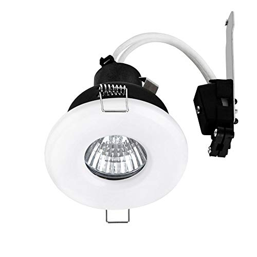 MiniSun Bathroom/Shower IP65 Rated Gloss White GU10 Ceiling Downlight - Complete With 1 x 5W GU10 Warm White LED Bulb from MiniSun
