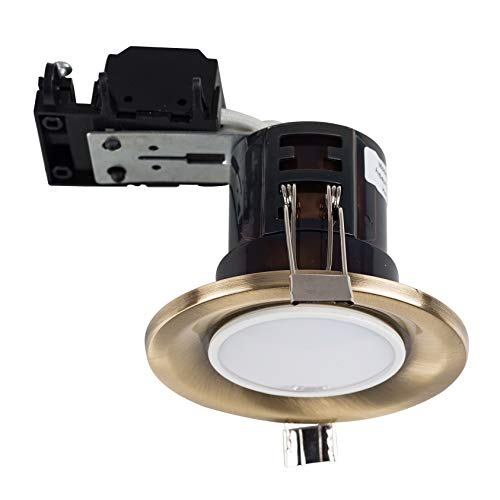 MiniSun Modern Fire Rated Antique Brass GU10 Recessed Ceiling Downlight/Spotlight - Complete with a 5w LED Bulb [6500K Cool White] from MiniSun