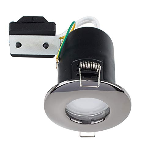 MiniSun Fire Rated Bathroom/Shower IP65 Black Chrome Domed Ceiling Downlight- Complete with a 5w LED Bulb [6500K Cool White] from MiniSun