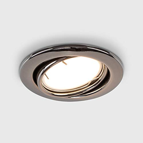 MiniSun Fire Rated Black Chrome Tiltable GU10 Recessed Ceiling Downlight - Complete with a 5w LED Bulb [6500K Cool White] from MiniSun