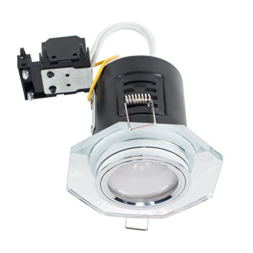 MiniSun Fire Rated Clear Glass and Chrome GU10 Contemporary Hexagonal Recessed Ceiling Downlight from MiniSun