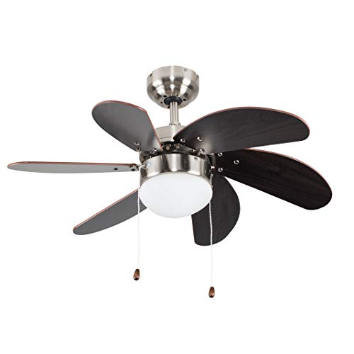 "MiniSun Silver Chrome & Wood 30"" Modern 6 Blade Ceiling Fan with Flush Light - Complete with a 4w LED Golfball Bulb [3000K Warm White] from MiniSun"