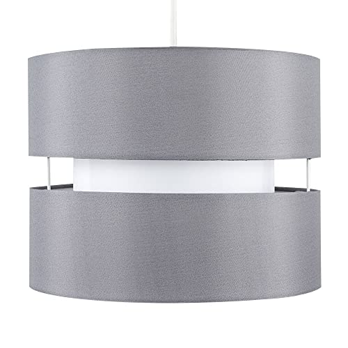 Modern 2 Tier Cylinder Ceiling Pendant Light Shade in a Grey Finish from MiniSun
