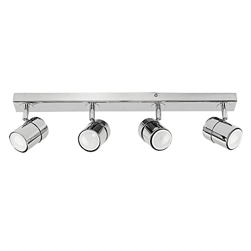 Modern 4 Way Straight Bar Ceiling Spotlight Fitting in a Polished Chrome Finish from MiniSun