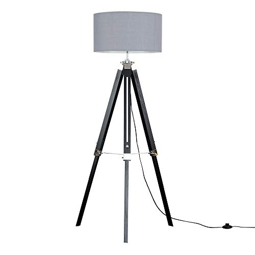 Modern Black Wood and Silver Chrome Tripod Floor Lamp with a Grey Cylinder Light Shade - Complete with a 6w LED GLS Bulb [3000K Warm White] from MiniSun