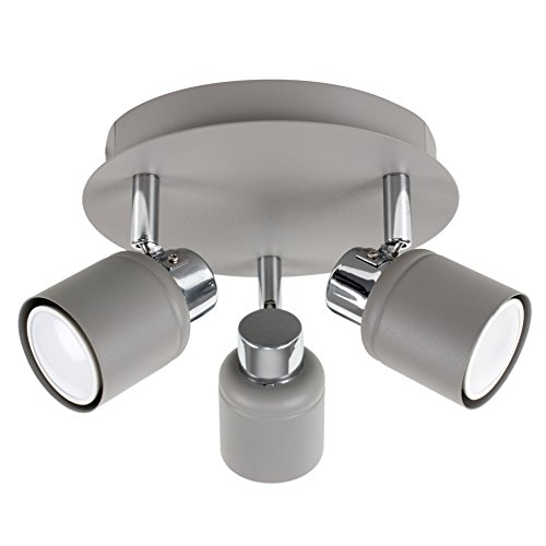 Modern Cement/Stone Effect and Polished Chrome 3 Way Round Plate Ceiling Spotlight from MiniSun