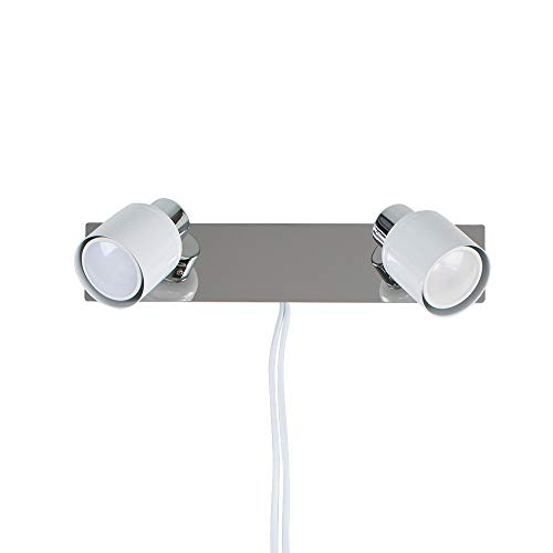 Modern Gloss White & Chrome 2 Way Adjustable Wall Spotlight with Practical Plug, Cable and Switch - Complete with MiniSun 5w GU10 LED Bulbs [6500K Cool White] from MiniSun