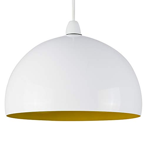Modern Gloss White & Yellow Metal Dome Ceiling Pendant Light Shade from MiniSun