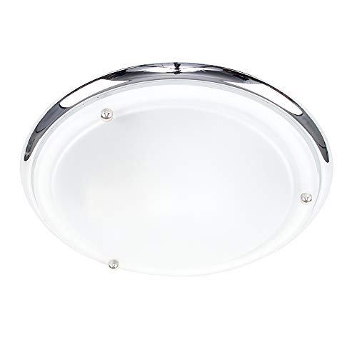 Modern IP44 Silver Chrome & Glass Flush Bathroom Ceiling Light from MiniSun