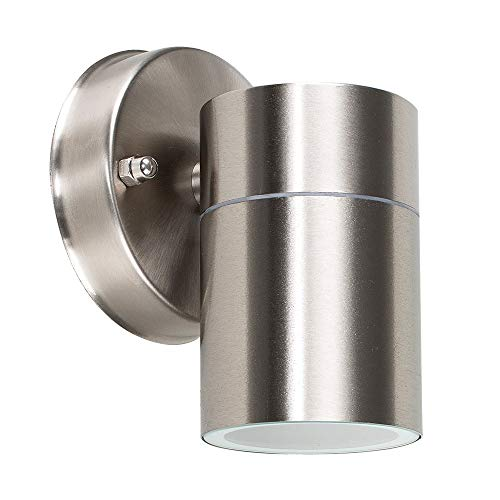 Modern Stainless Steel Outdoor Down Wall Light - IP44 Rated - Complete With 1 x 5W GU10 Warm White LED Bulb from MiniSun