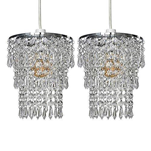 Pair of - Modern Chrome Chandelier Pendant Shades with Clear Acrylic Jewel Droplets from MiniSun