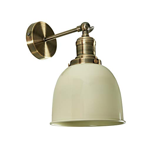 Retro Style Antique Brass Adjustable Knuckle Joint Wall Light with a Gloss Cream Dome Shade... from MiniSun