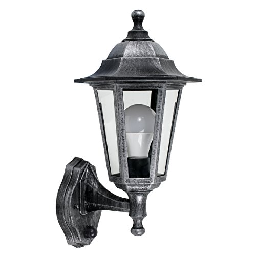 Victorian Style Brushed Silver & Black Outdoor Garden Security IP44 Rated Wall Light Lantern with a Dusk to Dawn Sensor - Complete with a 15w LED GLS Bulb [3000K Warm White] from MiniSun