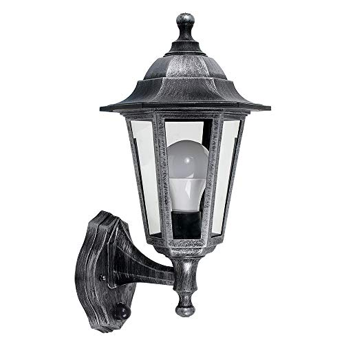 Vintage Victorian Style Brushed Silver and Black Outdoor Garden Security IP44 Rated Wall Light Lantern - with Dusk to Dawn Sensor - Complete with 1 x 4w LED ES E27 Candle Bulb from MiniSun