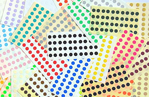 1120 Labels, 6mm Diameter Round, Mixed Colour Code Stickers, Self-Adhesive Sticky Coloured Dots from Minilabel