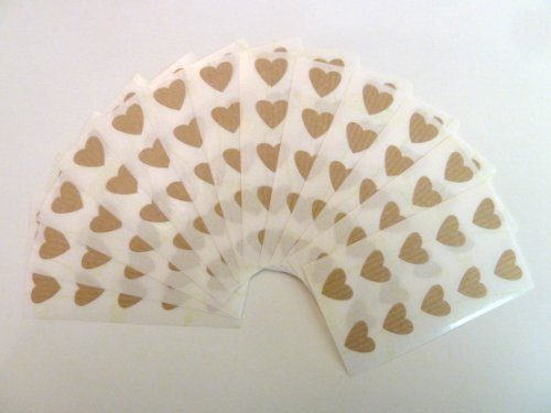 130 Labels, 13x12mm Hearts, Light Brown, Colour Code Stickers, Self-Adhesive Sticky Coloured Hearts from Minilabel