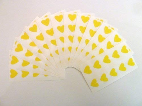 130 Labels, 13x12mm Hearts, Yellow, Colour Code Stickers, Self-Adhesive Sticky Coloured Hearts from Minilabel