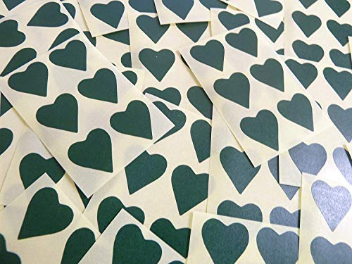 22x20mm Dark Green Heart Shaped Labels, 90 Self-Adhesive Colour Code Stickers, Sticky Hearts for Craft and Decoration from Minilabel