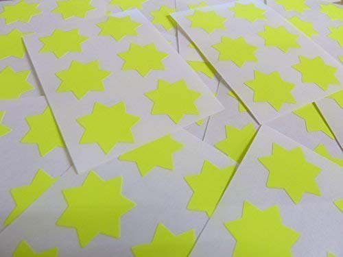 "25mm (1"") Star Shape Colour Code Stickers - Packs of 90 Large Coloured Stars Sticky Labels - 32 Colours Available (Fluorescent Bright Yellow) from Minilabel"