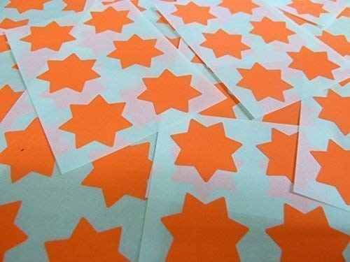 "25mm (1"") Star Shape Colour Code Stickers - Packs of 90 Large Coloured Stars Sticky Labels - 32 Colours Available (Fluorescent Flame Red) from Minilabel"