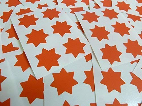 "25mm (1"") Star Shape Colour Code Stickers - Packs of 90 Large Coloured Stars Sticky Labels - 32 Colours Available (Red) from Minilabel"