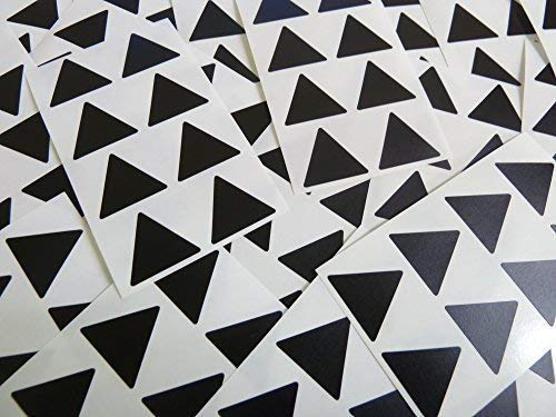 "25mm (1"") Triangle Shape Colour Code Stickers - Packs of 96 Large Coloured Triangular Sticky Labels - 32 Colours Available (Black) from Minilabel"