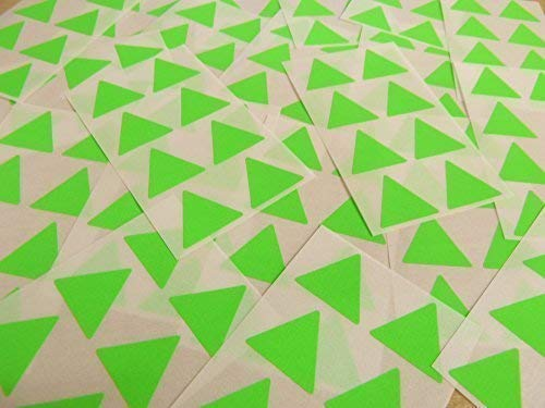 "25mm (1"") Triangle Shape Colour Code Stickers - Packs of 96 Large Coloured Triangular Sticky Labels - 32 Colours Available (Fluorescent Bright Lime Green) from Minilabel"