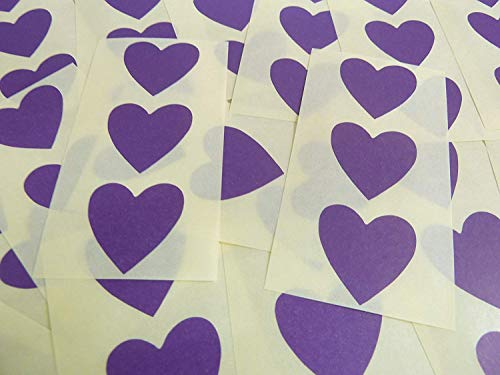 28x28mm Dark Purple Violet Heart Shaped Labels, 60 Self-Adhesive Colour Code Stickers, Sticky Hearts for Craft and Decoration from Minilabel