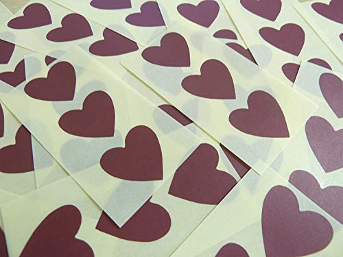 28x28mm Maroon Burgundy Heart Shaped Labels, 60 Self-Adhesive Colour Code Stickers, Sticky Hearts for Craft and Decoration from Minilabel